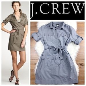 J. Crew Gray Belted Utility Mini Dress XS